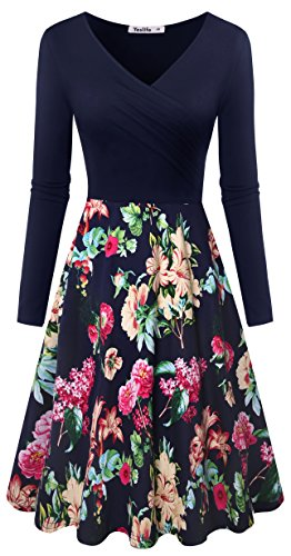 Yeslife Women's V-Neck Long Sleeve Pockets Floral Print Swing Casual Dress Floral-03 (Petite V-neck Skirt)