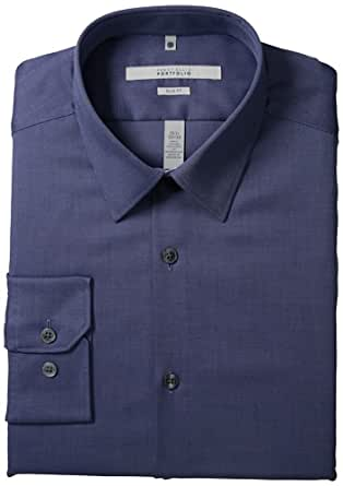 Perry Ellis Men's Portfolio Two Color Twill Dress Shirt, Amalfi Blue, 17.5 34/35