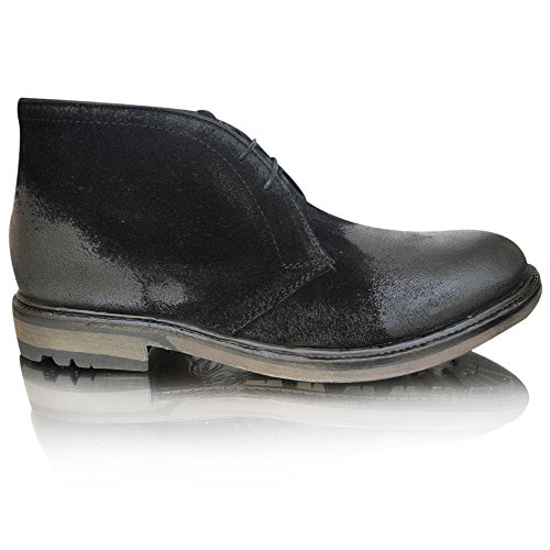 Base London Carbon - Botas Hombre Greasy Suede Black