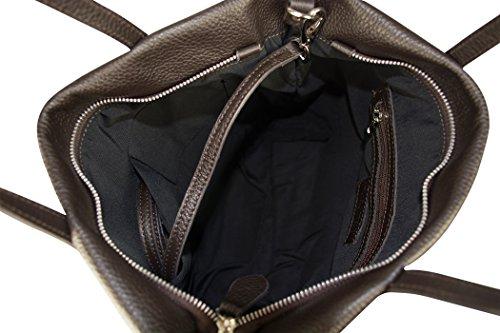 Charmants sac porté épaule en cuir marron lorena-fabriqué en italie