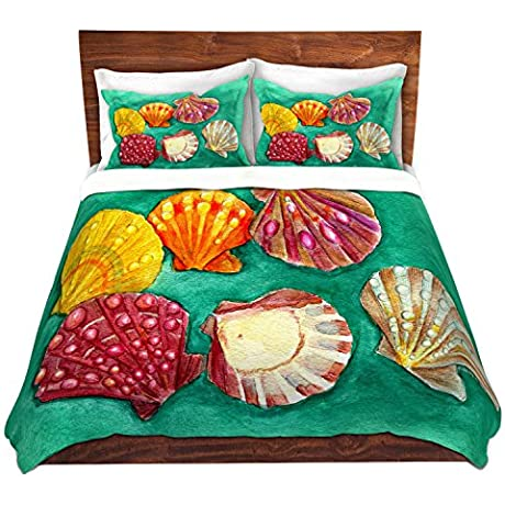 Duvet Cover Brushed Twill Twin Queen King SETs DiaNoche Designs Marley Ungaro Lionpaw Scallops