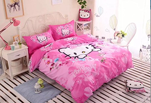 - CASA 100% Cotton Kids Bedding Set Girls Hello Kitty Duvet cover and Pillow cases and Fitted Sheet,4 Pieces,Full