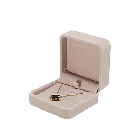 JUNGEN® Estuche de terciopelo de collar, Organizador de Joyerías, Joyería Caja de almacenamiento Boda Regalo,7*7*4 CM (Beige)