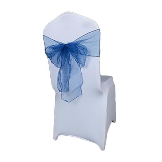 Amazon.com: eDealMax Organza banquete de la boda estiramiento Doblado cubierta de la Silla del Marco del arco cintas decoración 5pcs Azul Oscuro: Home & ...