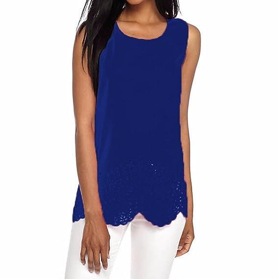 Fossen Mujer Verano Sin Mangas Bajo de Volantes Casual Blusas Tops (S, Azul)