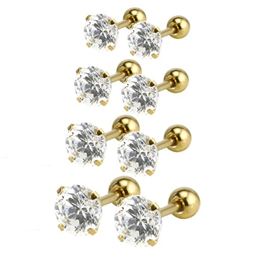 Price comparison product image Charisma Unisex Stainless Steel Cubic Zirconia Barbell Earrings Cartilage Helix Tragus Daith Stud Earrings 4 Pairs, Gold Plated