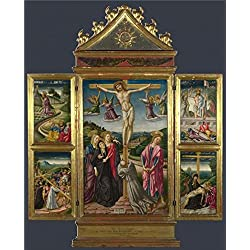 'Niccolo Di Liberatore-Christ On The Cross, And Other Scenes,1487' Oil Painting, 18x22 Inch / 46x57 Cm ,printed On Perfect Effect Canvas ,this High Quality Art Decorative Prints On Canvas Is Perfectly Suitalbe For Home Theater Decor And Home Decor And