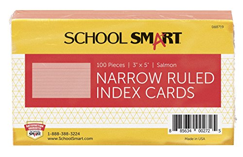 School Smart Heavyweight Ruled Index Cards - 3 x 5 inches - Pack of 100 - Salmon (Specialty Salmon)