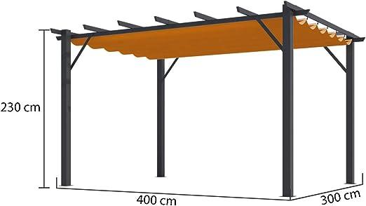 HABRITA Pérgola 100% Aluminio Color Óxido 4,00 x 3,00 x 2,30 m ...