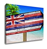 Ashley Canvas, Hawaii Flag Wooden Sign On Beach, Home Decoration Office, Ready to Hang, 20x25, AG6110011