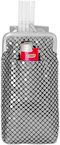 (Silver Vintage Luxuriant Soft Metallic Mesh (Full Pack 120s) Womens Cigarette & Lighter Purse)