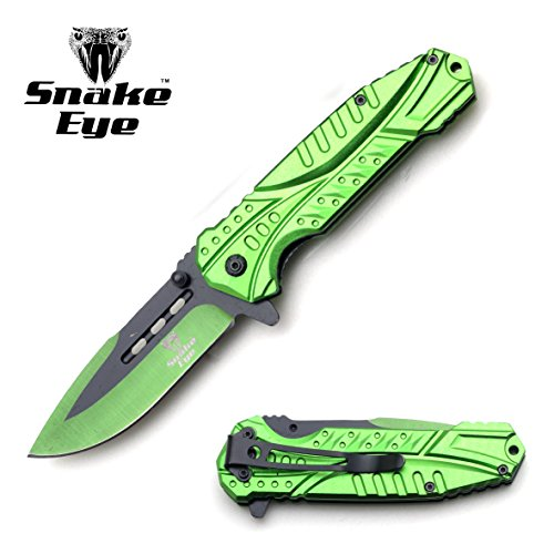 Snake Eye Tactical Heavy Duty Assisted Open Folding Pocket Knife Outdoors Hunting Camping Fishing (Green)