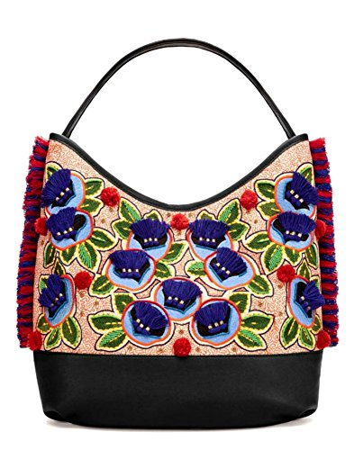 Leather Tory Hobo Embroidered Burch Mutlcolor Bag Canvas Floral Shoulder W6BAUO6z