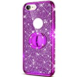 ikasus Case for iPhone 8/7 Glitter Case,Sparkly Glitter Bling Diamond Rhinestone Bumper with Ring Kickstand Flexible Soft Rubber Gel TPU Protective Case Cover for iPhone 8/7 Case for Girl Women,Purple