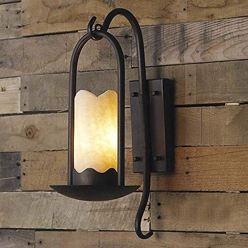 Ladiqi Industrial Vintage Wall Sconce Lighting Fixture Loft Retro Indoor Wall Lamp Light Cylindrical Alabaster Shade Beside Light Sconce Black for Bar Restaurant Staircase   -