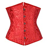 "mamak Women's Satin Lace Up Boned Lingerie Bridal Underbust Corset Top Low Back(Red-9427-Waist:36""-37""/4X)"