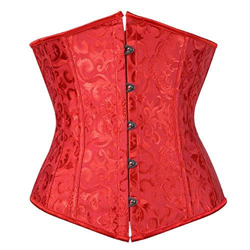 (Coolweary Women's Lace up Boned Jacquard Brocade Underbust Corset Bustier Waist Cincher Bodyshaper Costume Red- Natural Waist:40