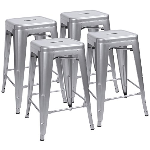 etal Bar Stools 24'' Indoor Outdoor Stackable Barstools Modern Industrial Vintage Silver Counter Bar Stools Set of 4 (Silver) (Silver Metal Bar Table)