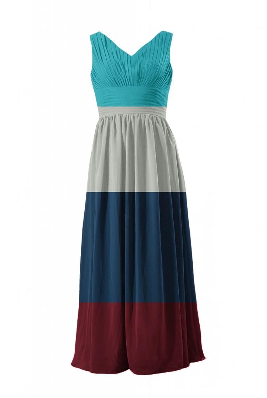DaisyFormals Garden Wedding Party Dress V-Neck Chiffon Bridesmaid Dress(BM9825)