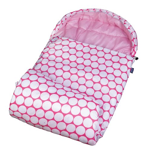 Stay Warm Sleeping Bag, Wildkin Children's Sleeping Bag with Attached Hood & Matching Storage Bag, Water-Resistant Microfiber, Temperature Rated at 30 Degrees Fahrenheit, Ages 5+, Big Dot Pink & White ()
