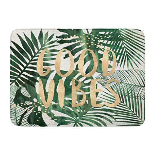 Emvency Doormats Bath Rugs Outdoor/Indoor Door Mat Green Beach Good Vibes Quote Tropical Leaves Wall Collage Typo Gold Summer Bathroom Decor Rug Bath Mat 16