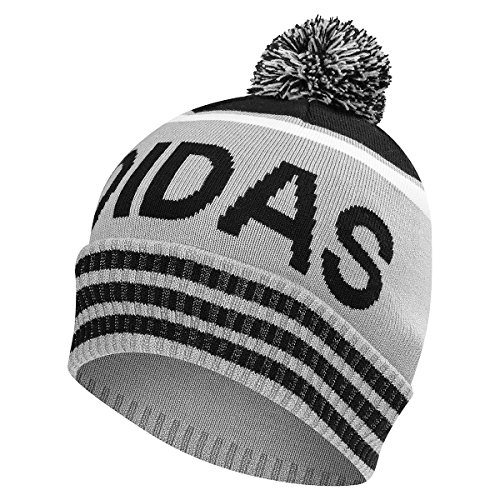 Adidas 2017 Mens Pom Golf Beanie Winter Bobble Hat Mid Grey / Black