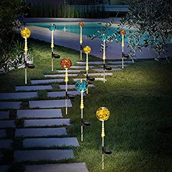 Solar Lights Outdoor, Solar Powered Crystal Glass Globe Garden Lights for Patio Walkway Lawn Fence Decor-3 Pack (Warm White)