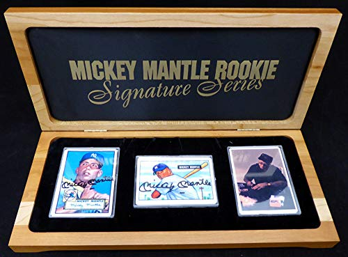 (Mickey Mantle Autographed Porcelain Reprint 1951 Bowman Rookie & 1952 Topps Rookie Porcelain Card Set With 2 Autographs New York Yankees SKU #139553)