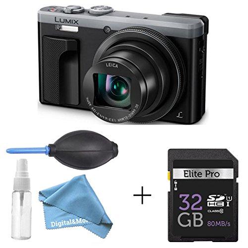 Panasonic LUMIX 4K Digital Camera ZS60 Silver (18MP, 24-720mm LEICA DC Lens Zoom) + 32GB SD Card + 3 in 1 Premium Cleaning Kit Pen Brush, Dust Blower, Exclusive DigitalAndMore Microfiber Cloth Bundle -