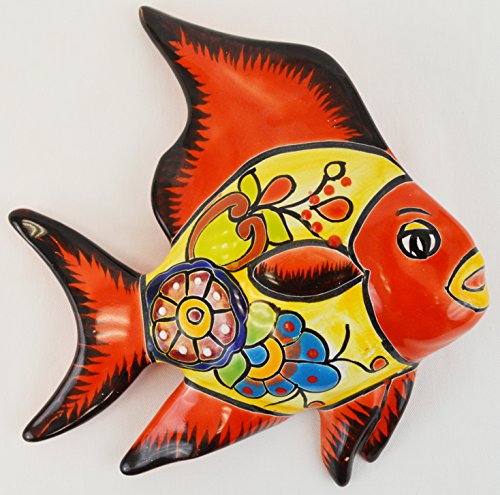 Talavera Wall Angel Fish 8x11 Hand Painted Ceramic Garden Decor (Angel Fish Sculpture)
