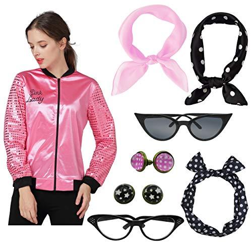 45 Inch Black Satin Cape - Mythgift Womens 50s Pink Lady Hot Pink Satin Jacket Halloween Fancy Dress Costume (M, Black)