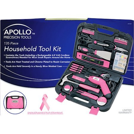 Price comparison product image Apollo Tools Precision 135pc Household Tool Set,  Pink