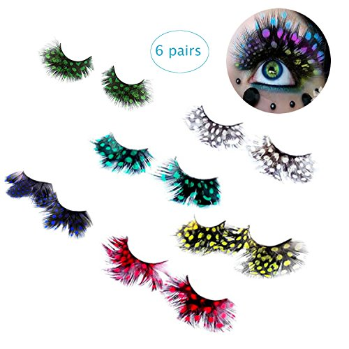 BTArtbox 6 Pairs Deluxe Party Stage Peacock Feather False Eyelashes Eye Lashes Haloween Cosplay Gift Set,Yellow,Rose,Green,Grey,Purple Blue ,Lake (Green Eyelashes)
