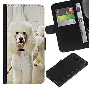 White Poodle Standard Fluffy Tail Dog - la tarjeta de Crédito Slots PU Funda de cuero Monedero caso cubierta de piel Samsung Galaxy S3 III I9300