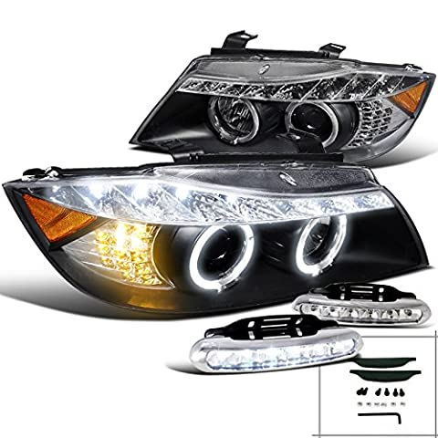 BMW E90 Black Projector R8 Style Headlights+LED Driving Fog Lamp