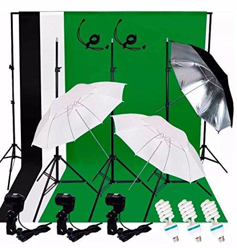 Audiotek Kit Estudio Iluminación Fotográfico Luz Fondos Sombrillas Fotografía Producción Excelente Calidad Resistente