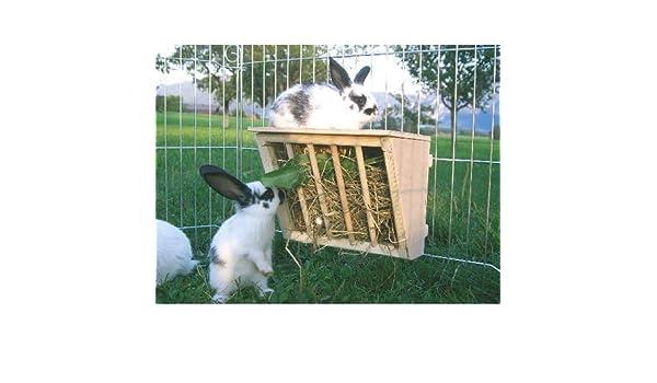Kerbl madera estante del heno con Sitzbrett- Dispensador de heno fr Animales pequeños: Amazon.es: Productos para mascotas