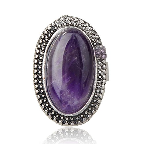 SUMAJU Tibet Silver Simulated Amethyst Oval Finger Cocktail Ring Adjustable