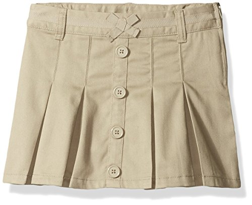 French Toast Big Girls' Pleat Button Front Scooter, Khaki, - Skirt Front Twill Button