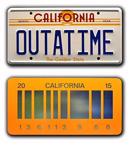 Celebrity Machines Back to The Future | Delorean | Outatime + 2015 | Metal Vanity Prop License Plate Combo