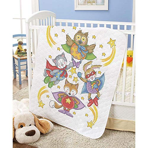 Herrschners Pre-Quilted Super Heroes Baby Quilt Stamped Cross-Stitch Kit