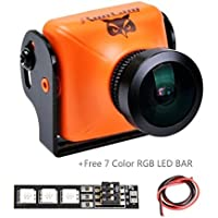 RunCam Owl Plus 700TVL FPV Camera Mini(Orange) 5-22V 0.0001 Lux 150 Degree Wide Angle for Racing Drone with 1 PCS RGB LED BAR
