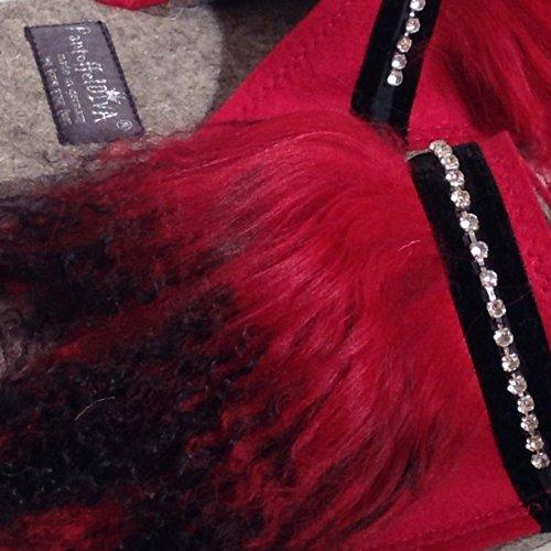 """""""Tibet Rot"""" Design Pantoffel von Pantoffeldiva Merinofilz mit Lammfell Verbrämung und Strass Band unisex Größe 38-42"""
