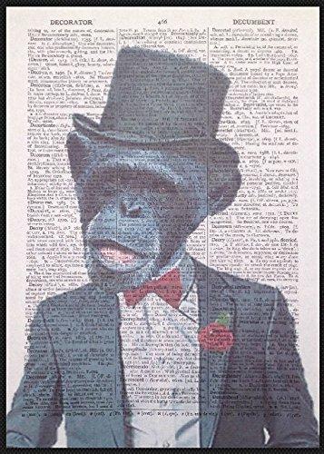 Chimp vintage Dictionary page Picture Wall Art Print costume da scimmia animali buffi homemade