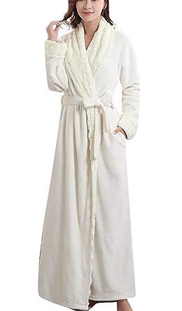 Domple Women s Nightgown Kimono Robe Flannel Winter Sleepwear Bathrobe ... 13cd345eab