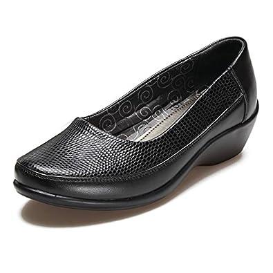 cb45d2d4d031 Ladies Black Reptile Wide Fitting Comfort Plus Smart Work Shoes - Black  Reptile Patent PU