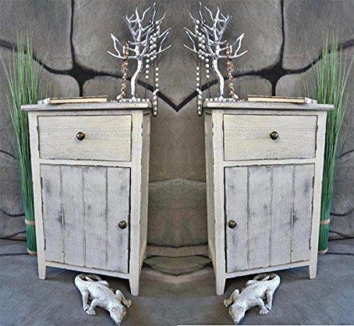 2 x Nachttisch Nachtschrank Kommode Used Landhaus Shabby Vintage Weiß LV1051SET