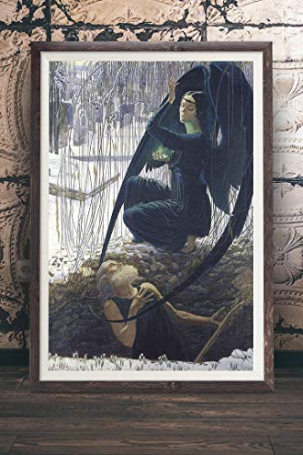 (Carlos Schwabe - Death and The Gravedigger - Angel of Death Painting, Vintage Wall Art Decor, Grim Reaper, Macabre, Gothic, Nu Goth,)