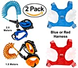 (2 Pack) Locking Anti-Lost Wrist Link/Band with Locking Clip Safety Wrist Link for Child, Toddlers, Babies & Kids with Harness and Leash. Childrens Leash, Loss, Child Tether, Wrist Strap by Zum