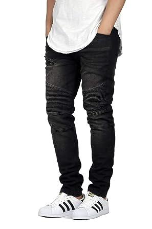 2361948cb161 Men's Black Skinny FIT Moto Biker Jeans 4025 at Amazon Men's ...